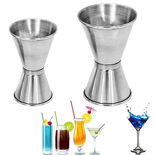 Stainless Spirit Cocktails Measure Cup Jigger Alcohol Bartending Bar&Wine Tools (15/30 ml)