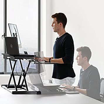 HUANUO Standing Desk Height Adjustable – Sit to Stand Up Desk Converter Gas Spring Riser with Keyboard Tray and Grommet Mounting Hole For Monitor Stand, LIFT Workstation Desktop From 4.2 to 20.1
