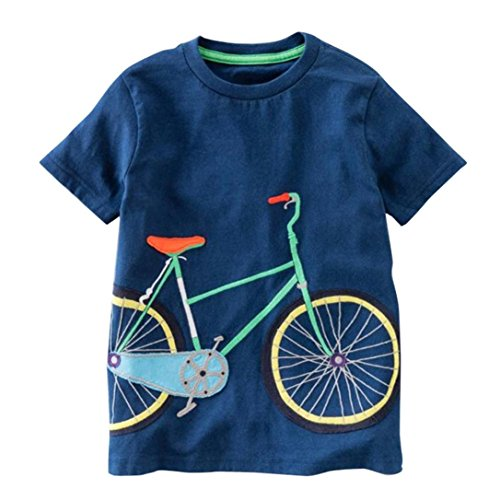 PENATE Baby Kid Boy Short Sleeve T-Shirt Casual Cartoon Soft Cotton Top Blouse (Bike, 3T) Bike Cotton Shirt