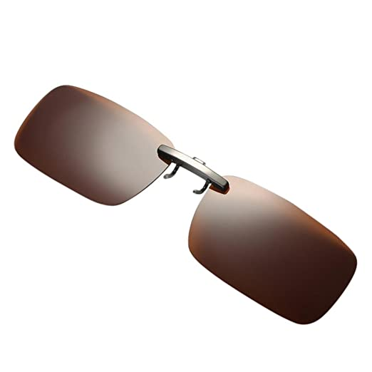 27b4c0acb47 Chartsea Polarized Clip-on Sunglasses Lenses Glasses Unbreakable Driving  Fishing Outdoor Sport Travelling (Coffee