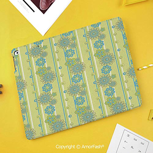 Case for Samsung Galaxy Tab S4 10.5 T830 T835 T837 Kids Safe Shockproof,Yellow and Blue,Blooming Ornate Flower Motifs Vertical Stripes Dots Decorative,Pistachio Green Sky Blue Mustard