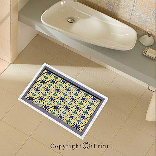 (Floor Stickers Waterproof Safety Moroccan Ceramic Motif with Arabesque Persian Folk Effects Antique Design Wall Floor Decals Decor for Bathroom Kitchen Backsplash, 35.4x22.8Inch,Violet Blue Yellow)