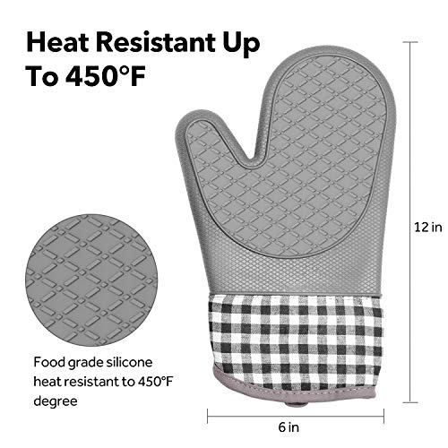 PHOEBE Oven Mitts, Silicone Heat Resistant Oven Gloves with Internal Protective Cotton Layer,Non-Slip Insulated, Flexible, Soft Oven Mitt for Cooking,BBQ, Grilling, Baking