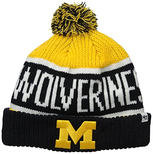 - '47 Michigan Wolverines Blue Cuff Calgary Beanie Hat with Pom - NCAA Cuffed Winter Knit Toque Cap