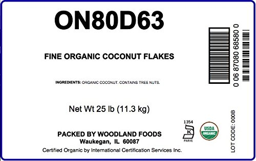 Organic Fine Coconut Flakes, 25 Lb Bag by Woodland Ingredients (Image #1)