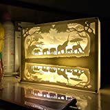 Papercut Light Boxes, CONMING USB LED Light Night Lamp with 3D Shadow Box Mood Light Soothing Light for Kids and Adults in Contemporary Modern Living Atmosphere for Bedroom Living Room Use or a Festival Gift (Elephant)