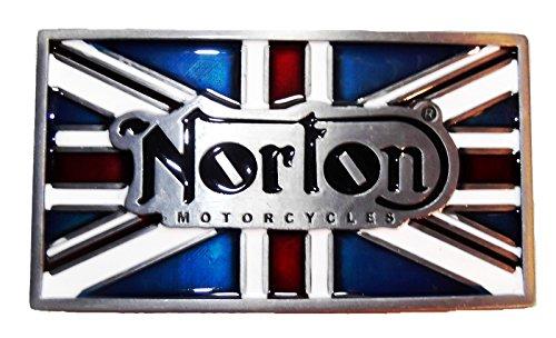 NORTON MOTORCYCLES Union Jack Logo Metal/Enamel BELT BUCKLE (British Flag Belt Buckle)