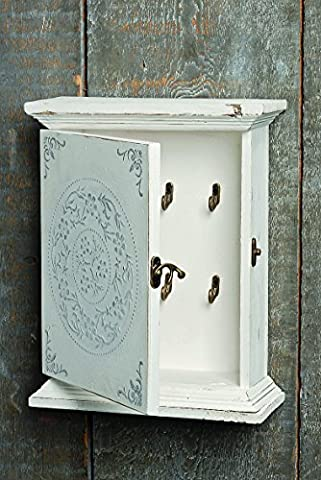 The Stockbridge Key Cabinet, Weathered White, Distressed finish, Vintage Cabinet Wall Hanging Cupboard, 4 x 9 ½ x 11 ¾ inches, Sustainable Wood, By Whole House - Cupboard Antique