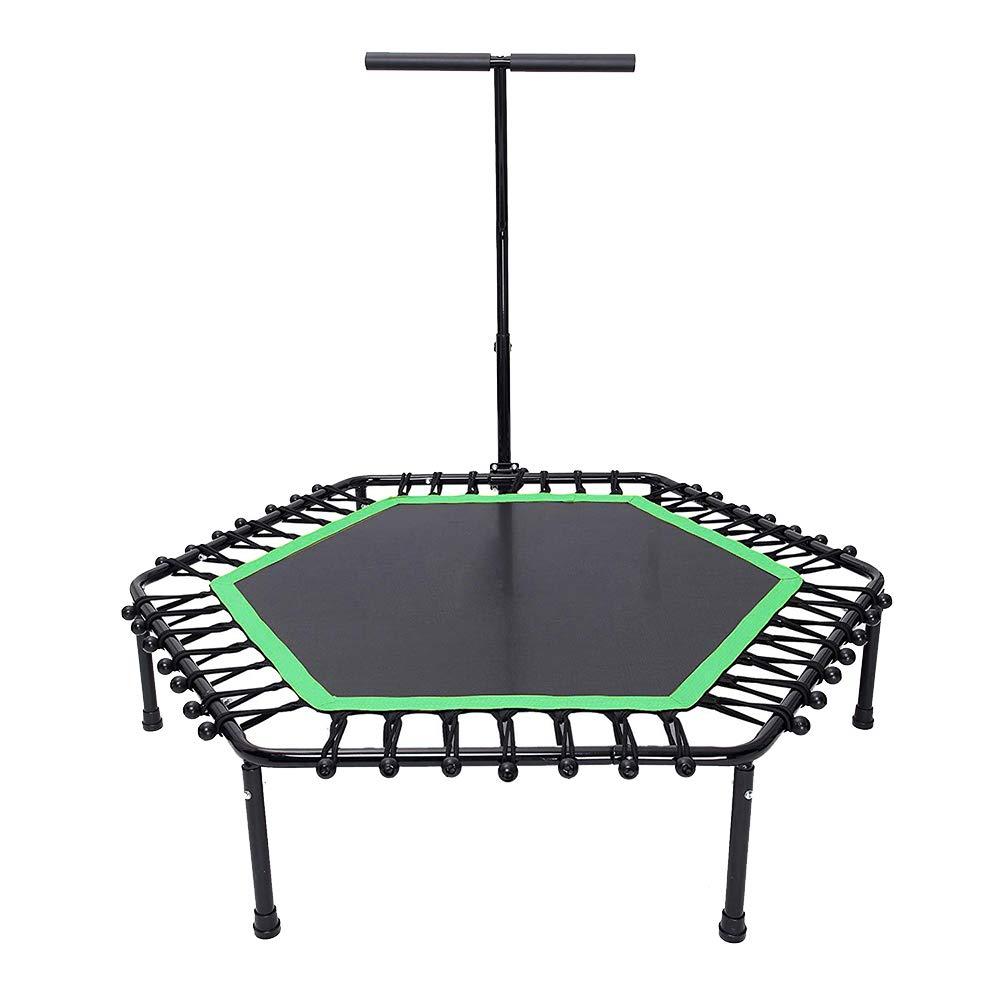 50 Zoll Trampolin Fitness mit Sicherheits Pad Max Last 100 kg, mit Handlauf Tragbare Trampolin Cardio Workout für Erwachsene