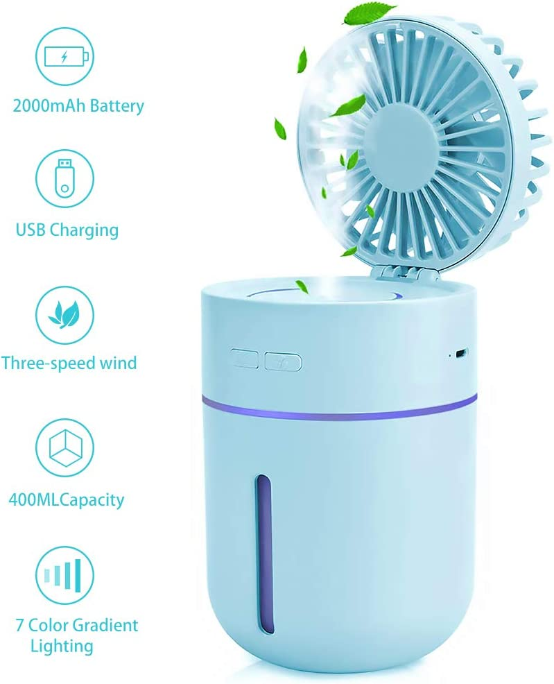 Portable Air Cooler 400ml Cool Mist Humidifier, Mobile Air Humidifier Mini Misting Fan Handheld Humidifier Personal Fan Water Spray Cooling Fan for
