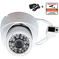 HOSAFE 1MD1W HD IP Camera Outdoor 720P Night Vision ONVIF H.264 Motion Detection Email Alert Remote View Via Smart Phone/Tablet/PC, Working With Foscam IP Camera Software Blue Iris IP Camera DVR (White)