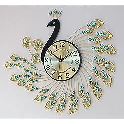 YOURNELO 3D Diamonds Peacock Wall Clock Decorative Silent Clock Diameter 20.8 (Copper)