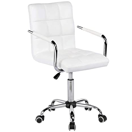 Incredible Yaheetech Office Chair White Faux Leather Swivel Computer Desk Chair Adjustable Home Office Study Room Furniture White Ibusinesslaw Wood Chair Design Ideas Ibusinesslaworg