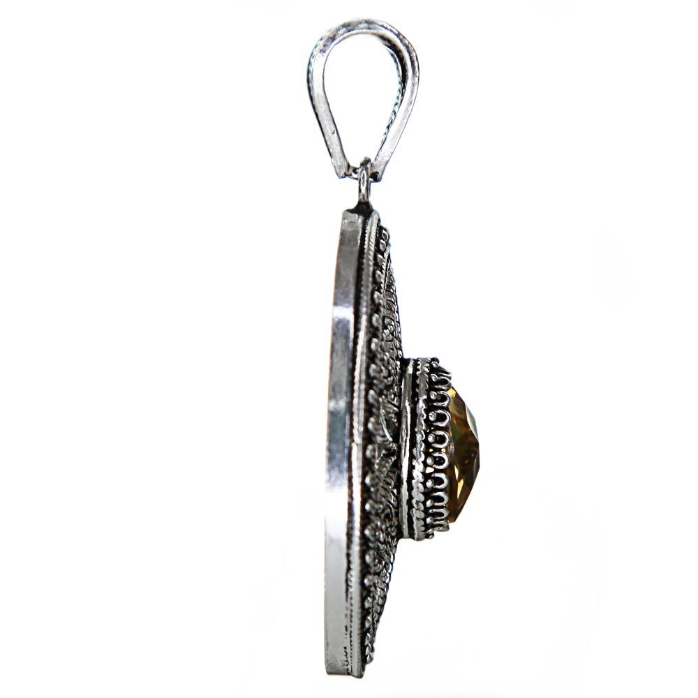 Sterling Silver Handmade Filigree Citrine Pendant