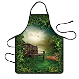 3D Pattern Womens Waterproof Twill Home Restaurant Apron Bib, Professional Adjustable Aprons for Kitchen Cooking Baking Gardening BBQ