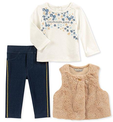 Calvin Klein Baby Girls 3 Pieces Faux Fur Vest Set, Cream/White, 6-9 -