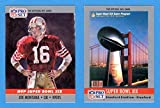 1990 Pro Set Football (Super Bowl #19) **** (2) Card Lot featuring Super Bowl MVP Joe Montana and Super Bowl Program Cover (49ers) (Dolphins)