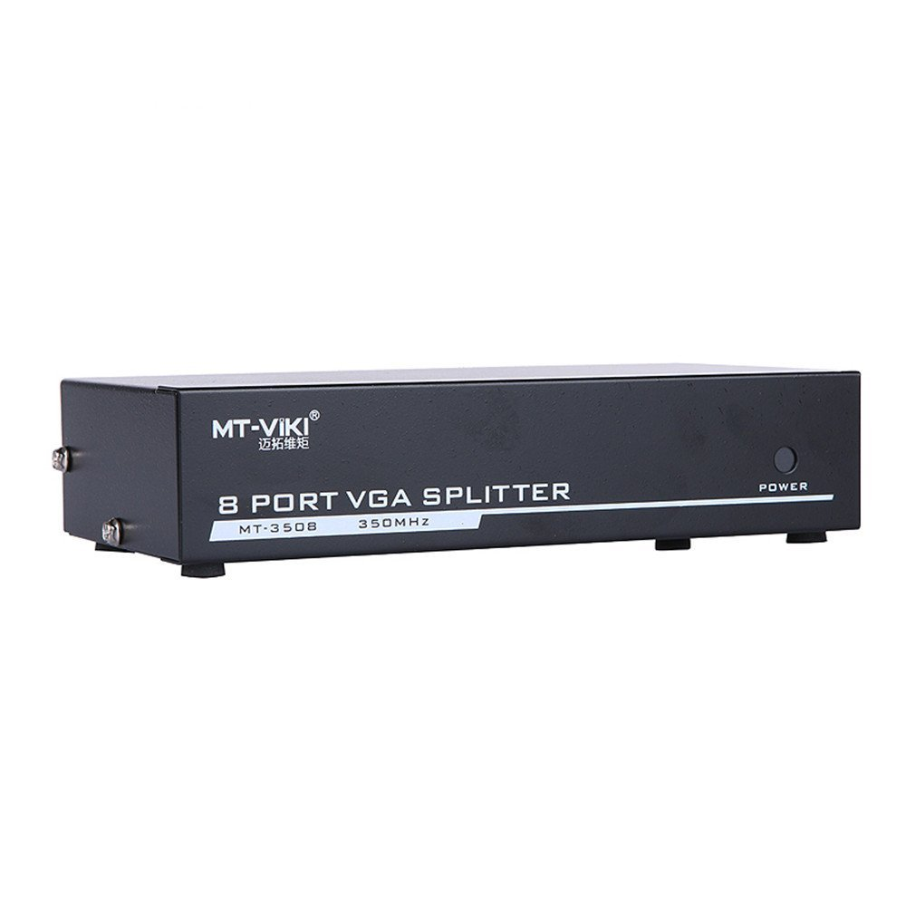 Eazy2hD 350MHZ 1×8 Ports VGA SVGA Video Splitter Box (1 PC Input to 8 Monitors Output) Sharing Switch Selector Hub for Computer DVD TV Projector