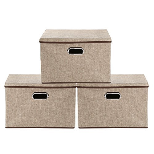 Baby Nursery Bag Storage bins,okdeals Storage Box Cubes Organizer Large Foldable Storage Containers with Removable Lid and Stainless Steel Handles,Set of 3 (Khaki) by okdeals (Image #3)