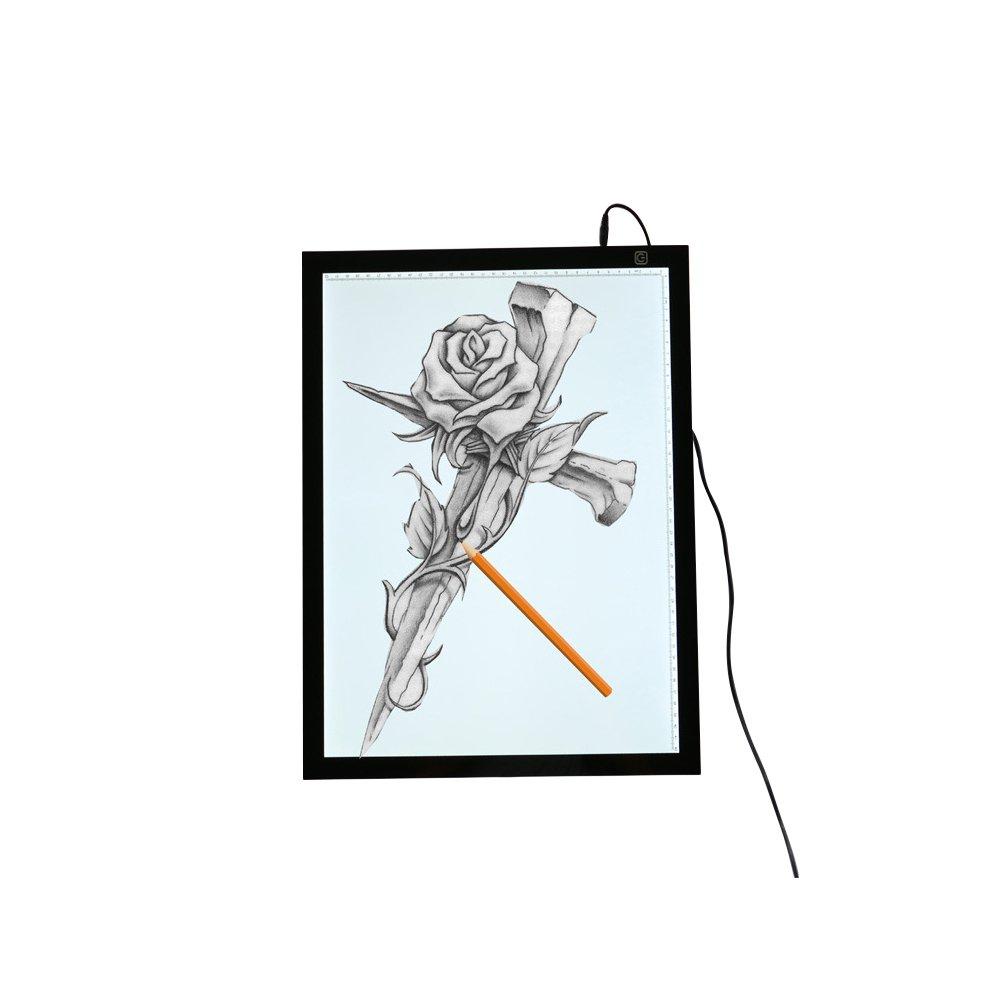 Del Artista A3 LED caja de luz Tracing ultrafina portátil regulable soldador Drawing Board w/cable USB de alimentación para dibujo, dibujo, animación, ...