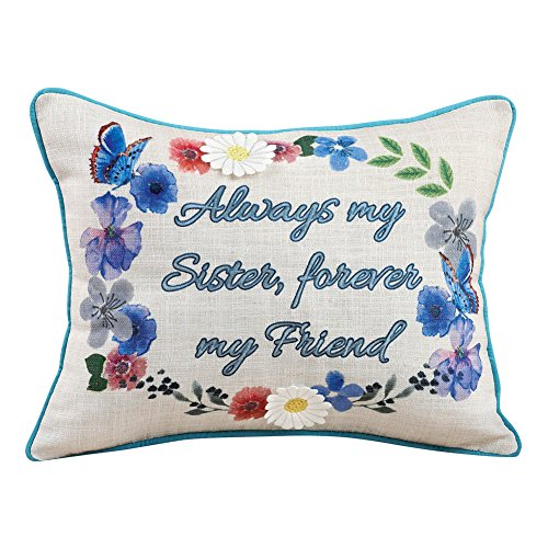 Throw Sister Pillow (Collections Etc Always My Sister Floral Accent Sentiment Pillow)