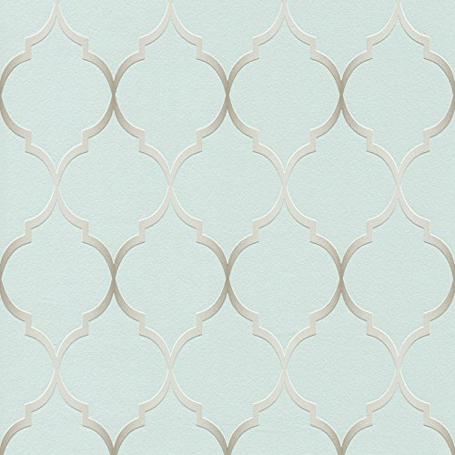 Fretwork Geometric Wallpaper Duck Egg Blue Rasch 701616