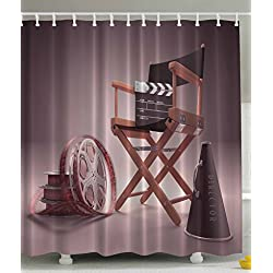 Ambesonne Directors Chair Seat Movie Lover Film Set Studios Strip Ribbon Storyboard Render Art Digital Print Polyester Fabric Shower Curtain - Aubergine Purple Brown