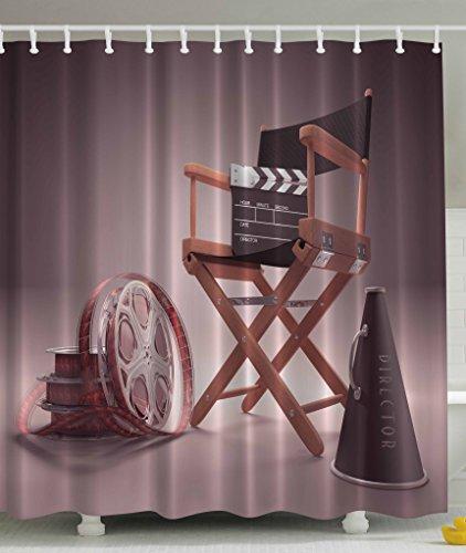 Directors Chair Seat Movie Lover Film Set Studios Strip Ribbon Storyboard Render Art Digital Print Polyester Fabric Shower Curtain - Aubergine Purple (Movie Themed Curtains)