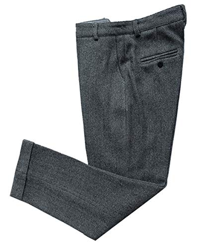 (Mens Pants Tweed Wool Herringbone Classic Trousers Thick Retro Suit Pant (Grey,30))