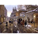 5D DIY Carriage Diamond Painting Cross Stitch Craft Kit Wall Stickers for Living Room Decoration 12X16 inches