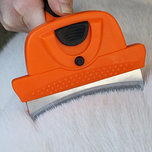 GoPets Deshedding Tool for Dogs and Cats - Self Cleaning Curved Comb Grooming Brush Reduces Shedding 95%