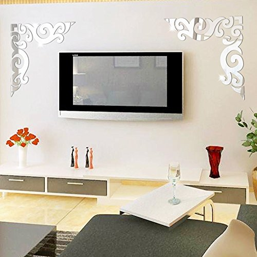 Diagonal Corner Line Acrylic Mirror Wall Stickers, Oksale® 11.8 × 11.8 Inch, Background Acrylic Bedroom Living Room Home Art Removable Applique Papers Mural Decor Decal (Silver) (Oceans Song Lyric Wall Decal)