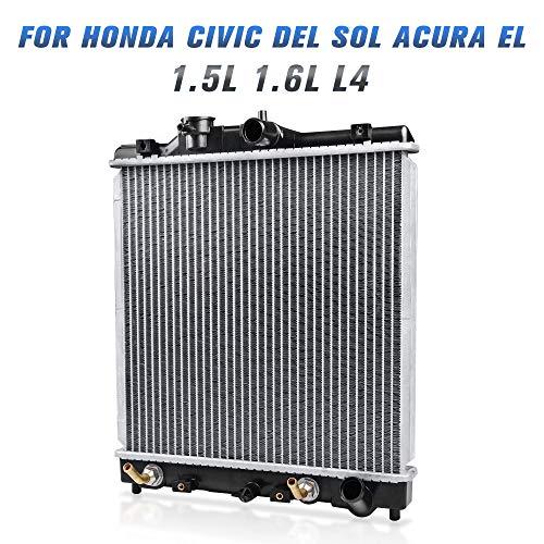 Complete Radiator for 1992-2000 Honda Civic, 1993-1997 Honda Civic Del Sol,1997-2000 Acura El 1.5 1.6L L4 DWRD1002