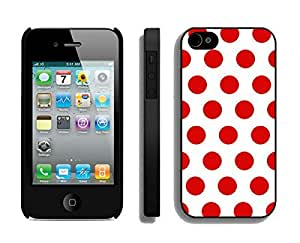 Slim Apple Iphone 4s Black Case Durable Soft Silicone TPU Polka Dot White and Red Speck Elegant Cell Phone Case Cover for Iphone 4