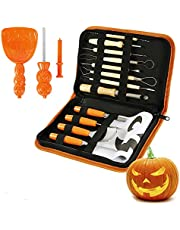 13 PCS Halloween Pumpkin Carving Kit,with Stencils, Professional Heavy Duty Stainless Steel Sculpting Tools with Carrying Bag for Adults & Kids, Halloween Decoration Jack-O-Lanterns
