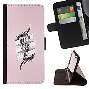 BETTY - FOR HTC One M8 - All You Need Is Love - Style PU Leather Case Wallet Flip Stand Flap Closure Cover