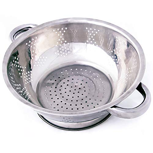 Kÿchen Rust Proof Stainless Steel Kitchen Colander for Straining, Steaming, Draining & Rinsing (9.25- Inch) -