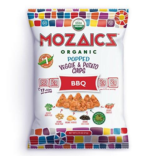 Mozaics Organic Popped Veggie & Potato Chips- Healthy snack~100 calorie snack, better than veggie straws or stix - gluten free - 0.75oz single serve bags (BBQ, 12-count)