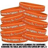 Fight Like a Girl Supporting, Admiring, Honoring Wristband Bracelet for Leukemia Multiple Sclerosis MS Kidney Cancer - Orange (10 Pack)