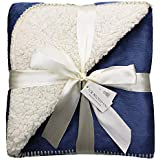Exclusivo Mezcla 50 x 70 Large Reversible Sherpa Throw Blanket (Navy Blue) - Lightweight, Warm, Soft and Cozy