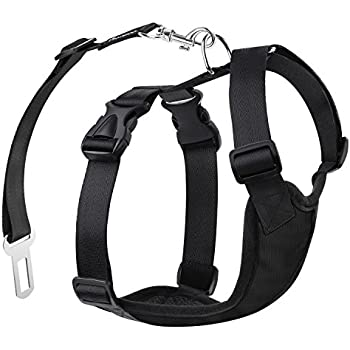 Pawaboo Dog Safety Vest Harness, Pet Dog Adjustable Car Safety Mesh Harness Travel Strap Vest with Car Seat Belt Lead Clip, Small Size, BLACK