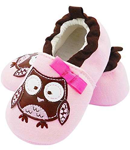FXYRAIN Toddler Baby Infant Girl Boys Soft Sole Slippers Booties Boots Crib Shoes Cartoon Cat(Owl)