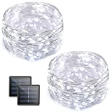 Vmanoo Solar String Lights, 32 Feet 100 LED Fairy Lights Copper Wire Starry String Lights, Indoor Outdoor Lighting for Home, Garden, Path, Lawn, Wedding, Xmas, DIY Decoration, 2-Pack (White)