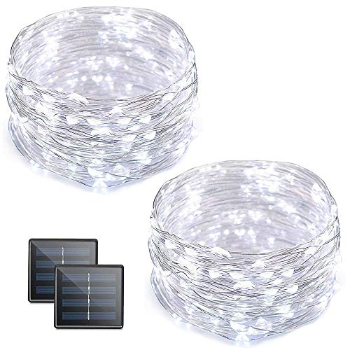 Vmanoo Solar String Lights, 32 Feet 100 LED Fairy Lights Copper Wire Starry String Lights, Indoor Outdoor Lighting for Home, Garden, Path, Lawn, Wedding, Xmas, DIY Decoration, 2-Pack (White) (Lighting String Ideas)