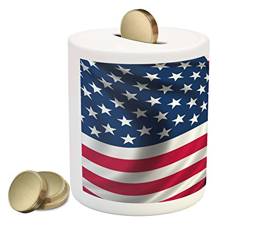 Ambesonne Eagle Piggy Bank, Patriotic Symbols of The Land with an American Flag with a Bald Eagle Nationalism, Printed Ceramic Coin Bank Money Box for Cash Saving, - Bald Coins Eagle