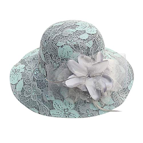 Price comparison product image Women's Organza Church Kentucky Derby Hat Feather Veil Fascinator Bridal Tea Party Wedding Hat Blue