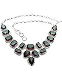 Sterling Silver Chain Necklace Fire Mystic Topaz Faceted Christmas Day Prom Gifts