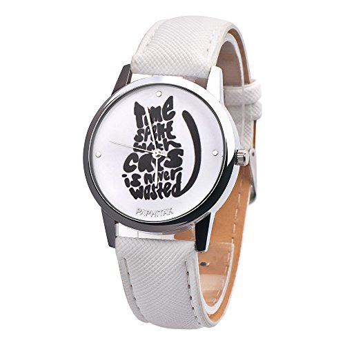 Quartz Watch,Hosamtel Women's Cute Letter Cat Leather Band Analog Wrist Watch (White) ()