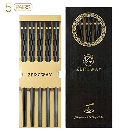Zeroway 5 Pairs Reusable Fiberglass Chopsticks Dishwasher Safe with Gift Case Chopstick Set for Household Restaurant - Golden flower