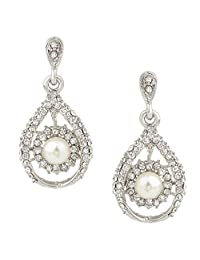 Ever Faith Silver-Tone Austrian Crystal Simulated Pearl Wedding Tear Drop Dangle Earrings Clear N00405-1